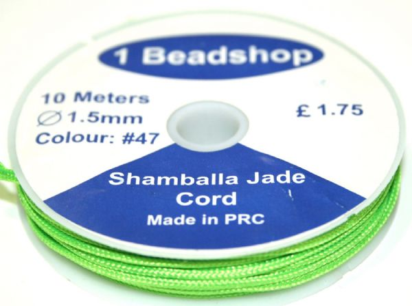 Bright Green 47: : 10 Metres x 1.5mm Jade  Cord JSC-10-1.5-47 / S.B